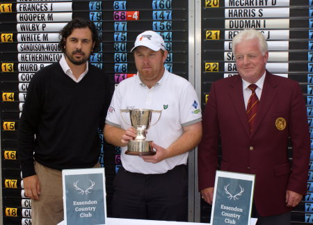Kieran Griffin (Owner, Essendon Country Club), Barrie Trainor (Tournament Winner) and John Smith (Secretary of PGA in England East (S))