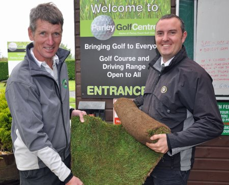 Parley Golf Centre's Hugh Dampney (left) and Joe Hendy of British Seed Houses
