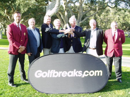 2013 winning team:  Sweden's Peter Dahlberg and his team, together with the two PGA Tournament Directors and Jim Long, Golfbreaks.com.