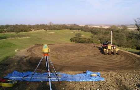Speedcut completing the laser levelling of one of the new tees at The Dyke Golf Club, West Sussex.