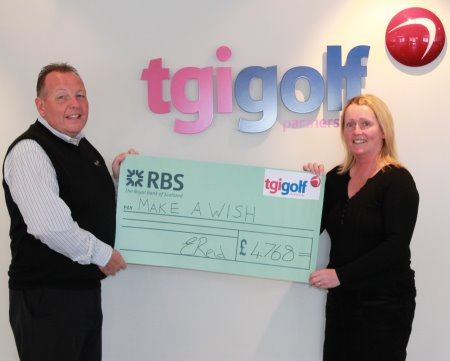 Eddie Reid, TGI Golf Partnership Managing Director (left) presents Carolyn Thornton, Volunteer & Community Fundraising Manager from Make-A-Wish with a cheque for £4,678 on behalf of the group.