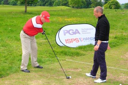 Tony Lloyd, left, with PGA Advanced Professional Craig Thomas.