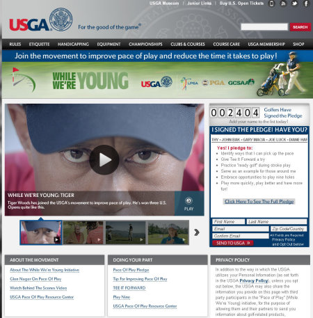 USGA pace of play website