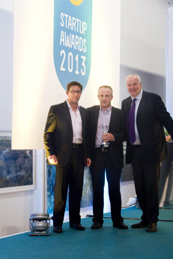 ClubstoHire CEO Tony Judge (centre) receiving the 'Best Service' award from Neil Squires of Squires & Co. Accountants (left)and Bobby Kerr of Insomnia Coffee Company and RTE Dragon