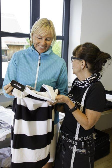 Liselotte Neumann and abacus head seamstress Lisa Martell Nielsen