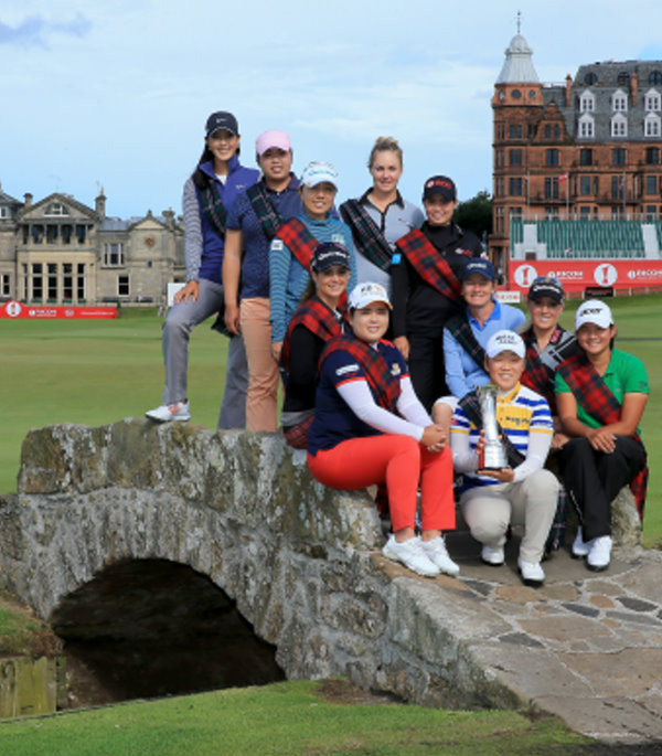 Ahead of the 2013 Ricoh Women's British Open, 1-4 August, international stars pose on the SwilkenBridge on the 18th hole of the Old Course. Left to right (left side of bridge): Michelle Wie of the USA, Shanshan Feng of China, Mika Miyazato of Japan, Beatriz Recari of Spain, Inbee Park of South Korea, (centre front) Jiyai Shin of South Korea The 2012 Ricoh Women's British Open Champion (right side left to right) Charley Hull of England, Moriya Jutanugarn of Thailand, Catriona Matthew of Scotland, Natalie Gulbis of the USA, and Yani Tseng of Taiwan as a preview for the 2013 Ricoh Women's British Open on the Old Course at St Andrews (Photo by David Cannon/Getty Images)