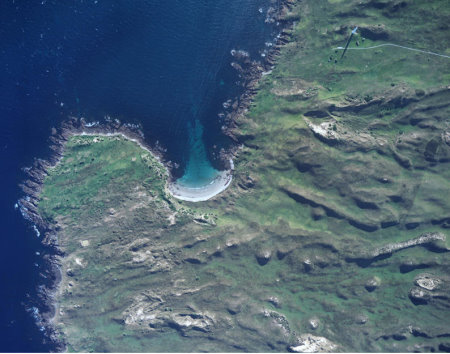 Aerial photograph of the new golf site at Cape Wickham, King Island
