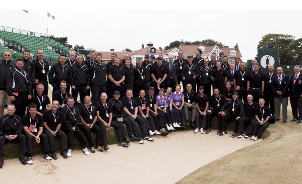 Full BIGGA team picture on the 18th fairway after Mickelson's victory