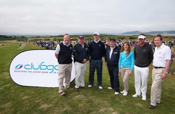 (l-r) RyderCup DirectorRichardHills, CEO of Aberdeen Asset Management Martin Gilbert, Martin Laird, Scotland First Minister Alex Salmond, Club Golf Manager Jackie Davidson, Scott Jamieson and George O'Grady