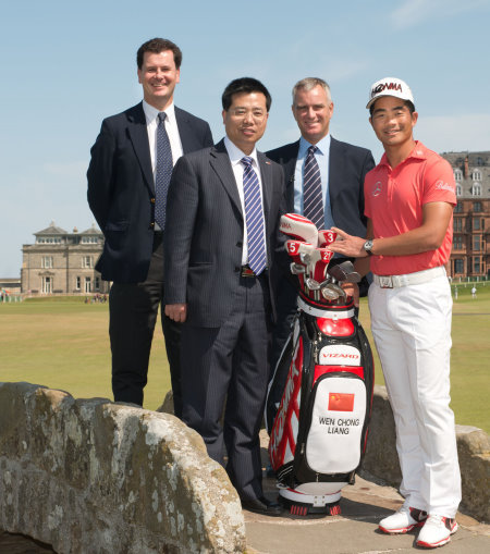 (l – r) David Rickman, Executive Director – Rules and Equipment Standards at The R&A, Consul Degang Wan, Duncan Weir, Executive Director – Working for Golf at The R&A, and Liang Wen-Chong (photo credit The R&A)