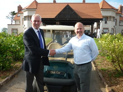 Club Car's Kevin Hart (left) with Russell Smith, Director of Golf of The Renaissance Club