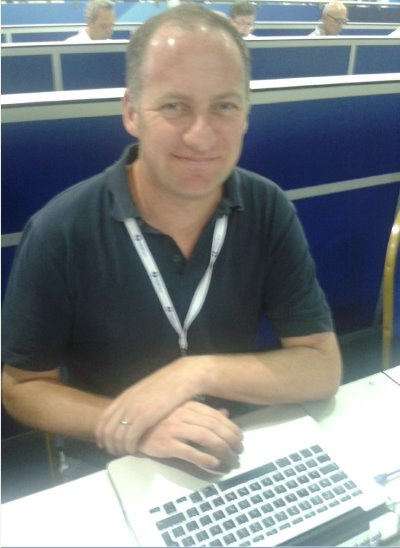 Robin Barwick at work in the Media Centre at Muirfield earlier this week (GBN.com)