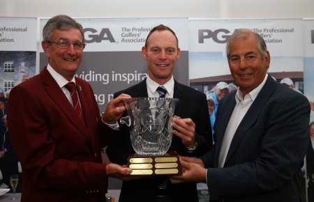 John Watson, centre, with PGA captain Neil Selwyn-Smith, left, and Waren Sunderland (courtesy of Matt Lewis at Getty Images)