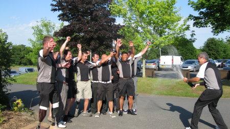 The winning team celebrates