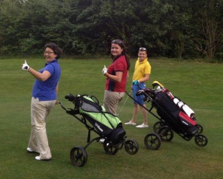 Debra Warren, Heather Thomas and Chris Coles enjoying a round of golf at the Vale of Glamorgan Resort thanks to the new scheme for deaf and hard of hearing players