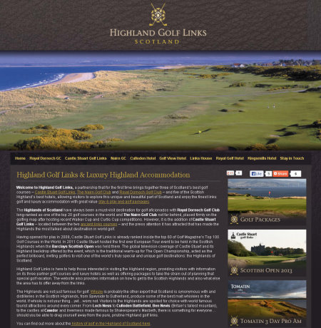 Highland Golf Links website