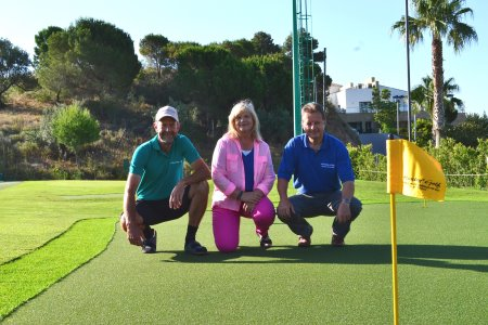 Lars Aarup, Director of Huxley Golf Andalucía (left), Gitte Aarup, Accountant at Huxley Golf Andalucía (centre) and Richard White, Huxley Golf Installation Manager (right).