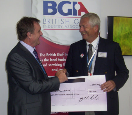 Chairman of the Golf Foundation Charles Harrison (right) thanked BGIA members and the Association's Chairman Nigel Freemantle (left)