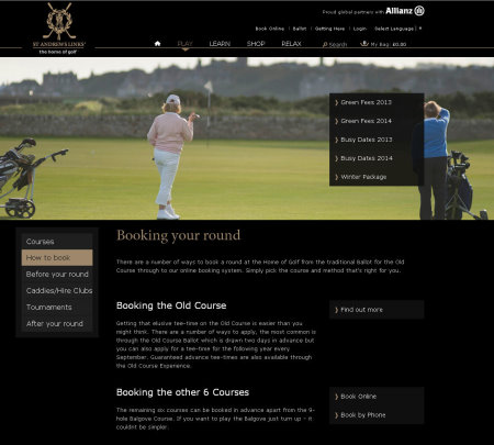 St Andrews Links website how to book