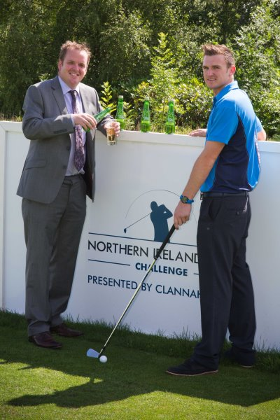 Graeme Murphy, Key Accounts Manager SHS Drinks, with Jason Thompson, Assistant Professional, Galgorm Castle Golf Club.