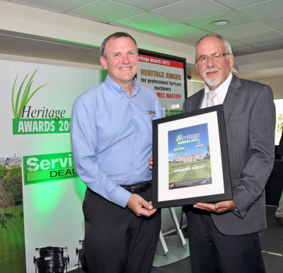 David Withers receives the award for the Ransomes Mastiff from Thomas Holzhueter of sponsor Briggs and Stratton …