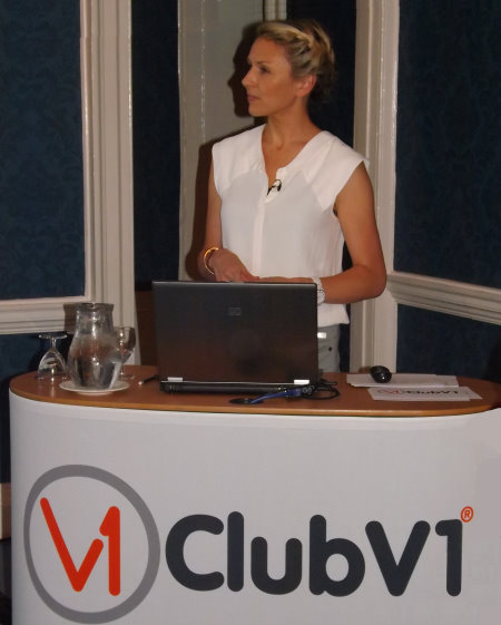 Sky Sports presenter Di Dougherty hosts the launch of Club Systems International's ClubV1 software at Moor Park last week