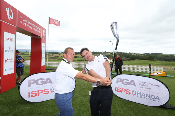 Welsh Paralympic Gold Medallist, Mark Colbourne receiving top tips from ISPS HANDA PGA Academy Pro, Craig Thomas at Celtic Manor Resort during the ISPS HANDA Wales Open (photo credit Sporting Wales)