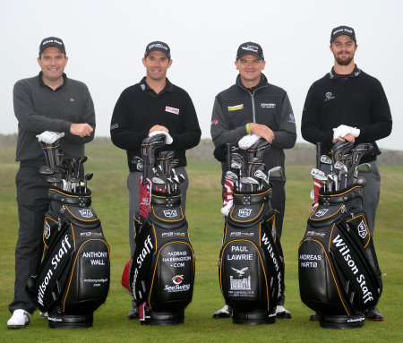 Wilson Staff Tour Advisory players Anthony Wall,Padraig Harrington, Paul Lawrie and Andreas Hartø help launch the FG Tour M3 range of clubs at St Andrews