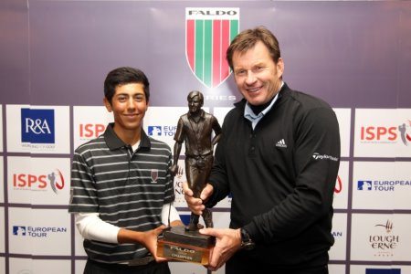 ack Singh-Brar of England receives the 2012 Faldo Series trophy from Sir Nick Faldo at Lough Erne Resort in Northern Ireland