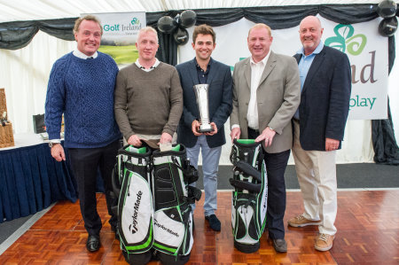 Members of the winning Citi FX team are presented with the trophy for the inaugural Golf, Guinness and Oyster Gathering by (far left) Lord Iveagh and (far right) David Boyce of Golf Ireland.