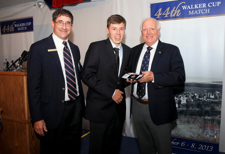 Glen Nager, the President of the USGA, Matthew Fitzpatrick and Professor Wilson Sibbett, Chairman of The R&A