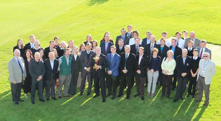 """Environment Secretary, Richard Lochhead, centre with Ryder Cup with the delgates who attended the launch of the Ryder Cup """"Green Drive"""" at Auchterarder Golf Club: (Picture Stuart Adams. www.golftourimages.com:)"""