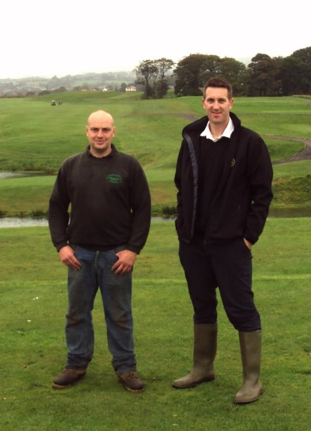 Rob Hall, assistant head greenkeeper at Regent Park Golf Course (left) on the 5th tee with Paul Moreton of British Seed Houses.