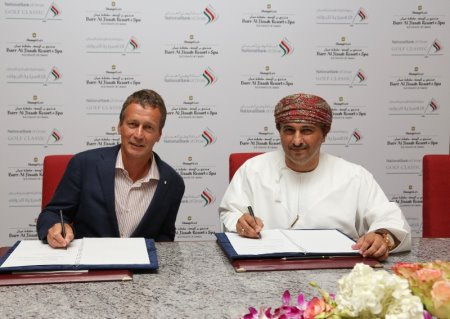 Mark Kirk, General Manager of Shangri-La Barr al Jissah Resort and HasanShaban, a Deputy General Manager at the National Bank of Oman, at the signing ceremony for the Premium Sponsor for the National Bank of Oman Golf Classic