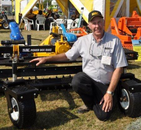 BLEC Global's Gary Mumby with the new Power Box Rake