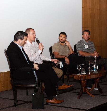 The technology panel: from left John Aherne – Golfgraffix;  Jóhann Guðmundsson - 247Golf.net; Anthony Douglas - Hole 19; and Helge Munck - GolfWorks