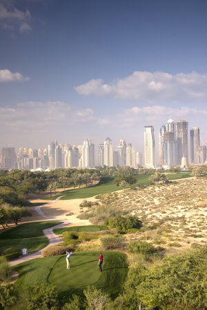 The 8th hole on the Majlis course at Emirates Golf Club, managed by Dubai Golf, who have signed a strategic supplier agreement with Desert Turfcare