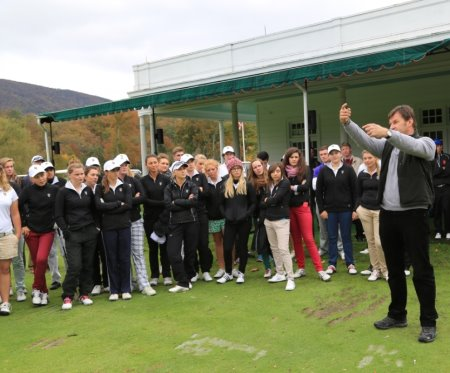 Sir Nick Faldo giving a clinic to competitors during the 17th Faldo Series Grand Final at The Greenbrier in West Virginia, USA