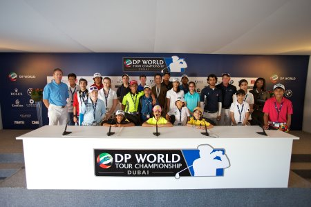 Up-and-coming young golfers enjoy a behind-the-scenes visit to the DP World Tour Championship Media Centre