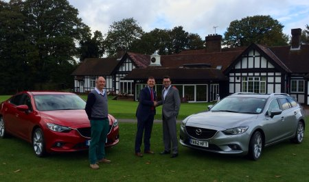 Damian Benstead, MD Golf Show Group, Richard Whittam, Fleet Manager of Mazda Motors UK Limited, Dominic McMullan, Sales & Marketing Manager Golf Show Group.