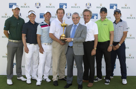 European Ryder Cup Captain, Paul McGinley, with Rolex Ambassadors; Nicolas Colsaerts, Luke Donald, Paul Casey, George O'Grady (Chief Executive, The European Tour), Jean-Noel Bioul (Rolex Communications Senior Advisor), Martin Kaymer and Matteo Manassero at today's historic announcement of the extended partnership between Rolex and The European Tour to 2022. (© Getty Images)