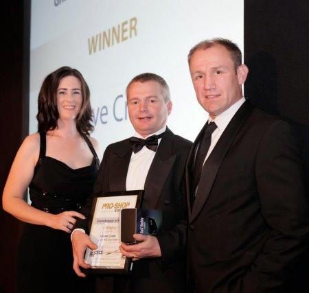 Karen Proctor – Key Accounts Manager, Ransomes Jacobsen Ltd; Steve Cram; and Neil Back MBE