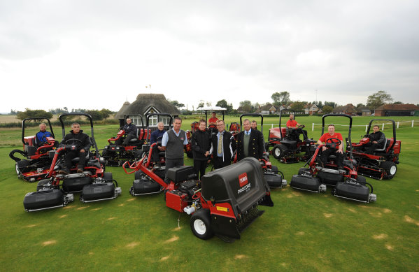 From left: Richard Wood, John Shaw Machinery, Paul Larsen, course manager, Royal St George's Golf Club, Larry Pearman, regional sales manager, Lely UK and Tim Checketts, secretary, Royal St George's Golf Club.