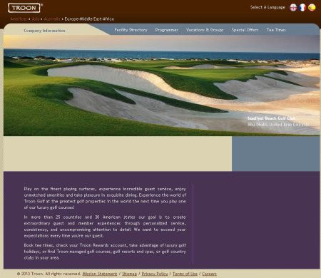 Troon Golf website EMEA