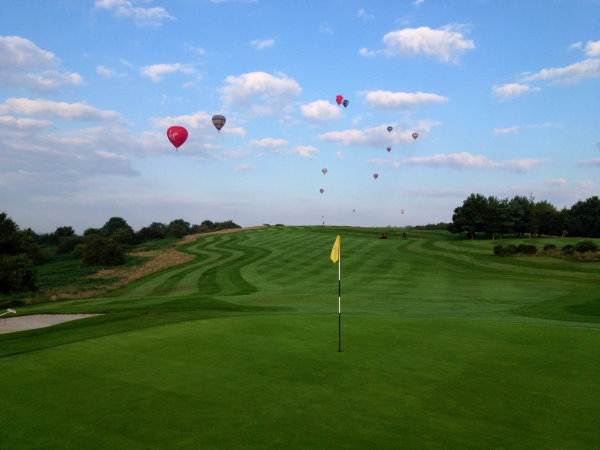 John 's winning photograph, hot air balloons over the 3rd hole at Long Ashton Golf Club