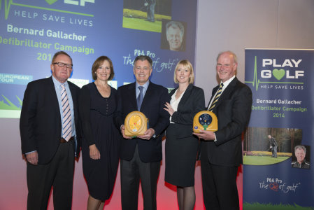 Richard Hills (Ryder Cup Director), Lesley Gallacher, Bernard Gallacher, Jo Jerrome (deputy CEO Arrhythmia) and Sandy Jones (PGA chief executive)
