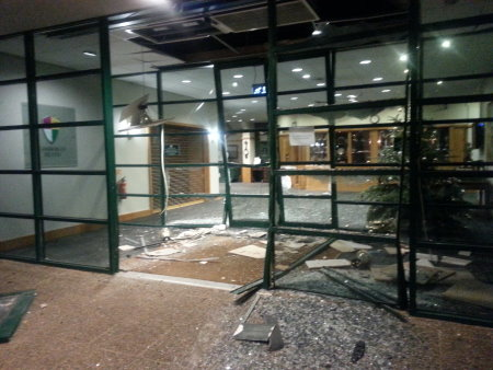 The ram raid damage at Camberley Heath Golf Club