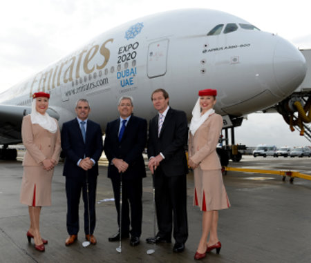 European Tour professional Paul McGinley, Nigel Hopkins, Executive Vice President, Service Departments of Emirates Group and George O'Grady, Chief Executive of The European Tour, are flanked by Emirates Cabin Crew at the announcement of Emirates becoming the Official Airline of The European Tour in addition to increasing their European portfolio over the next four years.