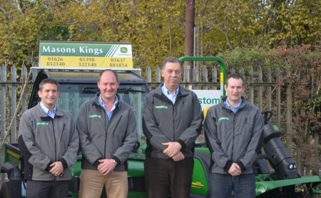 (left to right) Masons Kings group agricultural sales manager Andy Miller, general manager Peter Endacott, owner Roger Prior and group parts manager Matt Hellyer.