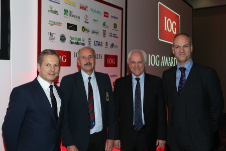 Adding golf-focused categories to the IOG Industry Awards, from left: Geoff Webb, IOG chief executive; Chris Sealey, BIGGA vice chairman, David Teasdale, IOG chair and Jim Croxton, BIGGA CEO